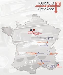 Carte de france du Tour Auto 2012